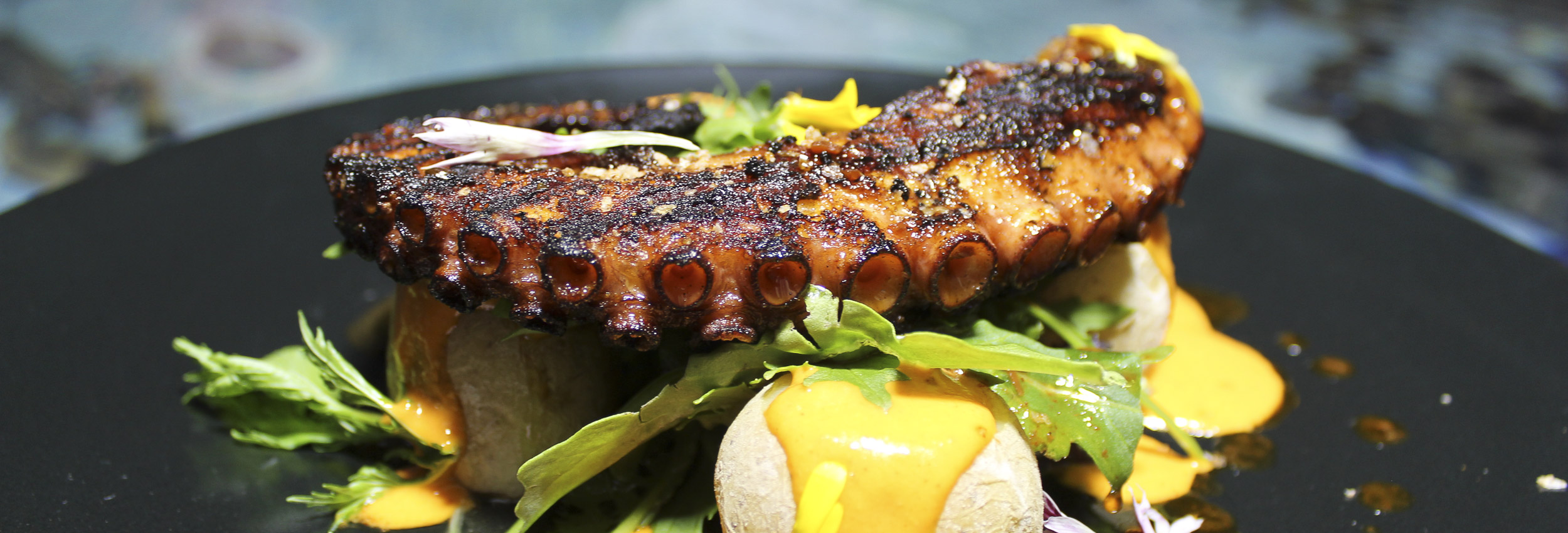 Grilled octopus glazed with smoked paprika vinaigrette
